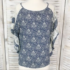 Forever 21 | Cream Lace & Blue Paisley Boho Top